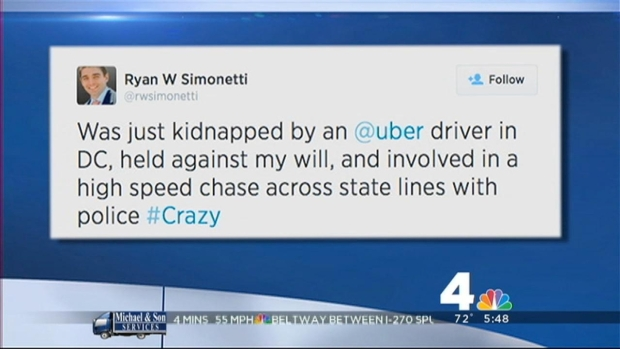 [DC] Man Claims He Was Kidnapped by Uber Driver in D.C.