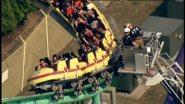 Riders Stuck on Six Flags America Roller Coaster