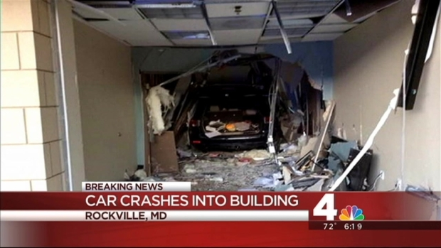 [DC] Driver Rescued After Car Crashes Into Rockville Building