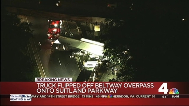Driver Killed After Truck Plummets From Overpass