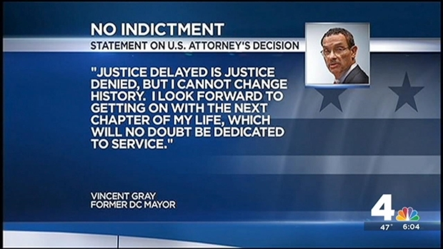 [DC] No Federal Charges Against Vincent Gray in Shadow Campaign Investigation