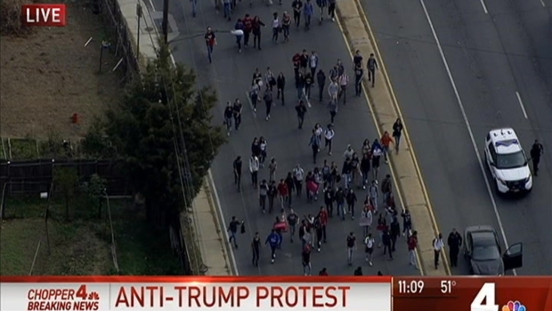 College students protesting Trump in march to LA City Hall