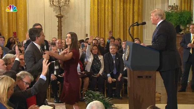 [NATL]  Video Shows Interaction Between Acosta and White House Intern