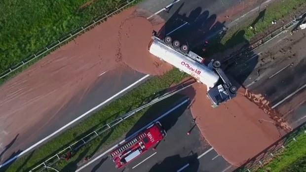 Unfortunate Truck Spills: Liquid Chocolate