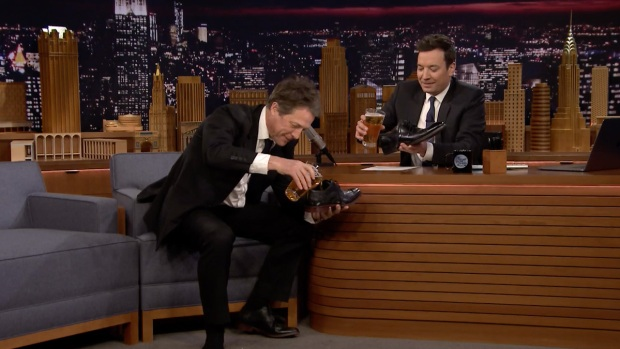 [NATL] 'Tonight': Hugh Grant and Jimmy Fallon Chug a 'Shoey' (i.e. Drink Beer from Their Shoes)
