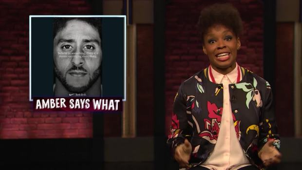 [NATL] 'Late Night': Amber Says 'What' to Kaepernick Ad, Franklin Funeral