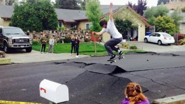 RAW VIDEO: Skateboarders Jump Buckled Napa Streets
