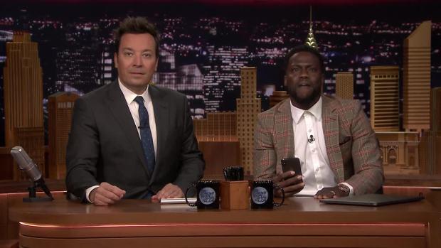 [NATL] 'Tonight': Kevin Hart FaceTimes Dwayne Johnson While Co-Hosting