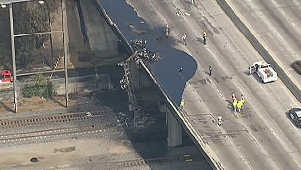 Fiery Tanker Truck Crash on the Long Beach Freeway
