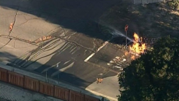 [BAY] RAW VIDEO: Underground Oakland Gas Vault Erupts in Flames