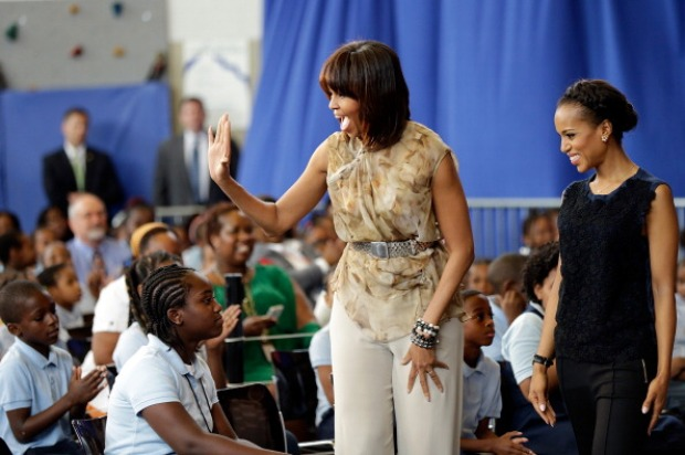First Lady, Kerry Washington Visit Savoy School