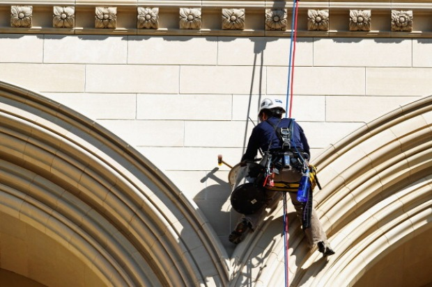 Daredevils Inspect National Cathedral Damage
