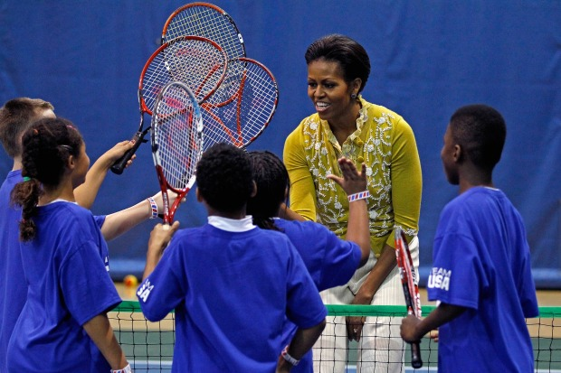 Michelle Obama Cheers on Local Kids at a Mini 'Olympics'