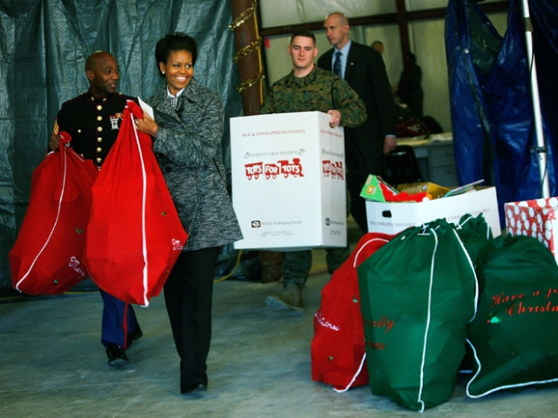 First Lady Delivers Toys for Tots to Quantico