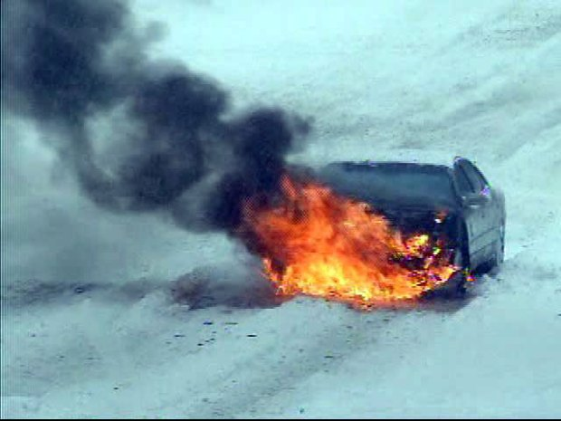 [DC] Car Bursts Into Flames Getting Up Snowy Hill