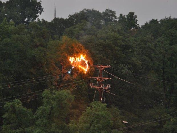 Power Lines Catch Fire Near Tracks