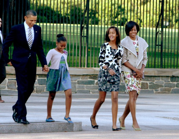 First Family Walks to Sunday Service