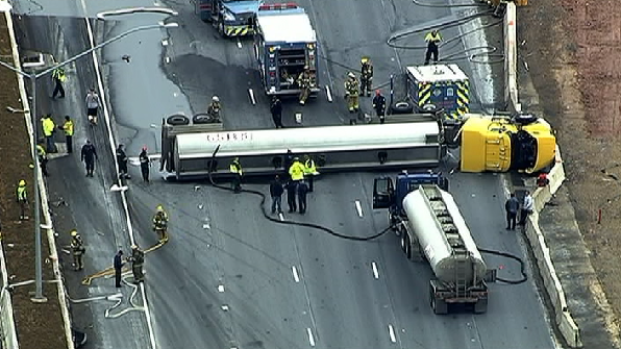 PHOTOS: Tanker Truck Overturns, Closes I-95S