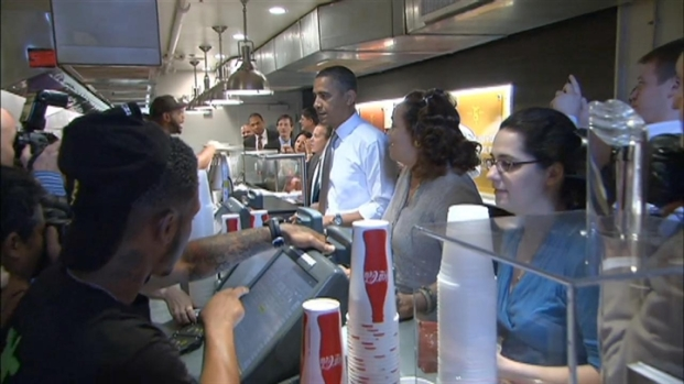 [DC] Raw Video: President Obama Visits Good Stuff Eatery
