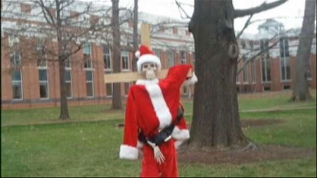 [DC] Santa Skeleton Nailed to Cross in Leesburg