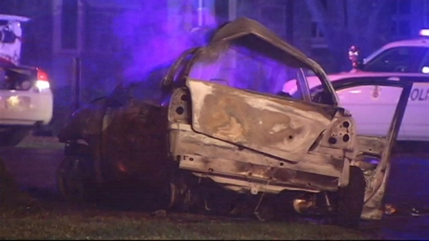 RAW VIDEO: Two Killed in Fiery Crash