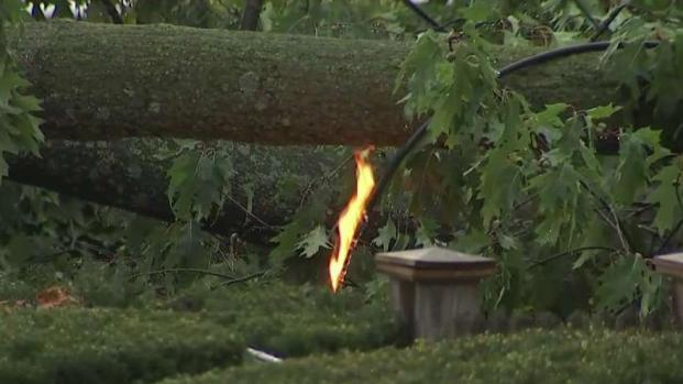 [DC] Downed Power Lines on Fire in DC During Storm