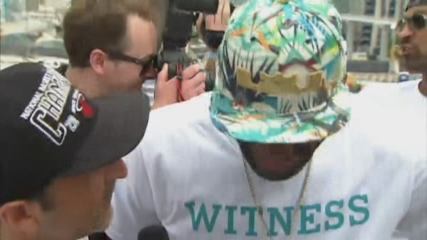 [MI] LeBron James Interview From Inside The Players Bus During The Miami Heat Parade