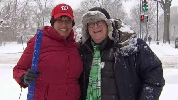 [DC] News4's Pat Collins (Finally!) Gifts Mayor Bowser an Official Snow Stick