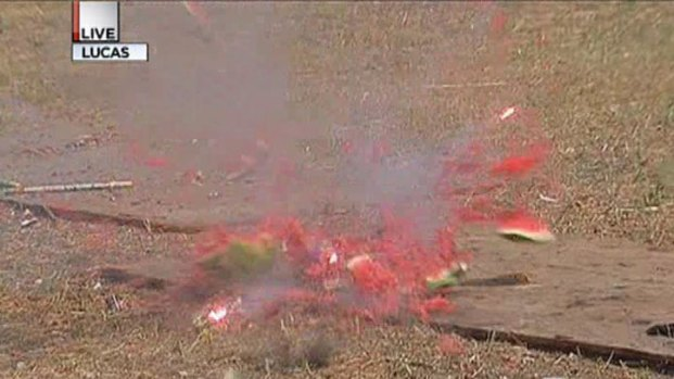 [DFW] Melons Blown Up to Show Fireworks Danger