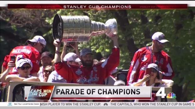 Ovi Hoists the Stanley Cup During Parade