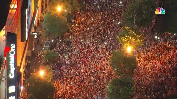 Fans Roar in Arena, in Streets as Caps Win Stanley