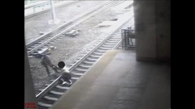 Caught on Cam: NJ Transit Officer Pulls Man Off Tracks Seconds Before Train Arrives