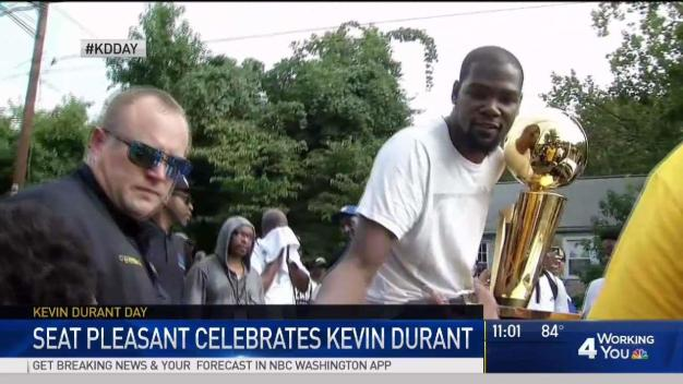 Kevin Durant Rides in Silver Corvette in Parade