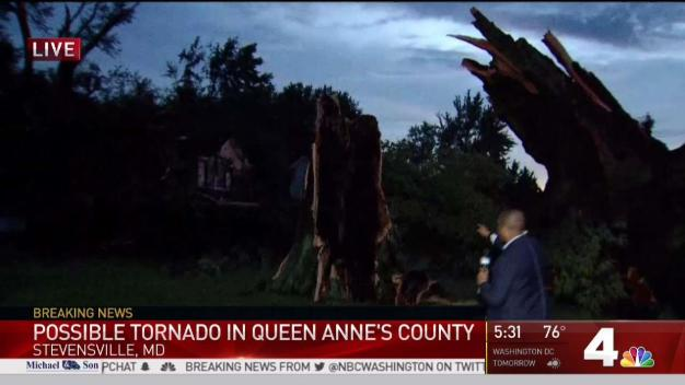 Possible Tornado Damages Homes in Maryland