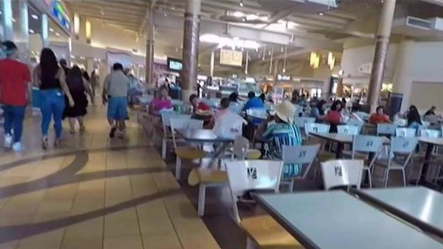 Toddler Left Alone in Stroller in Mall Food Court