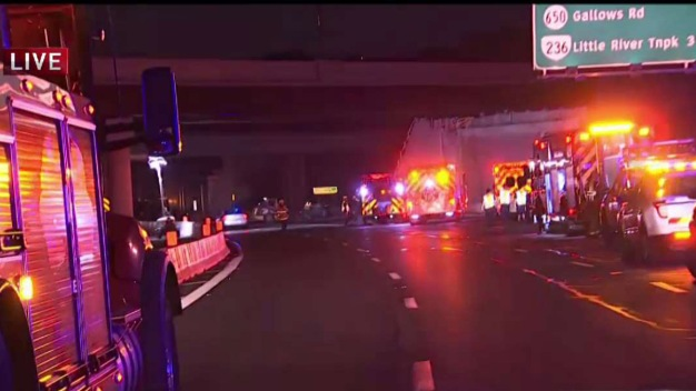 2 Lanes Reopen on Beltway at I-66 After Truck Fire