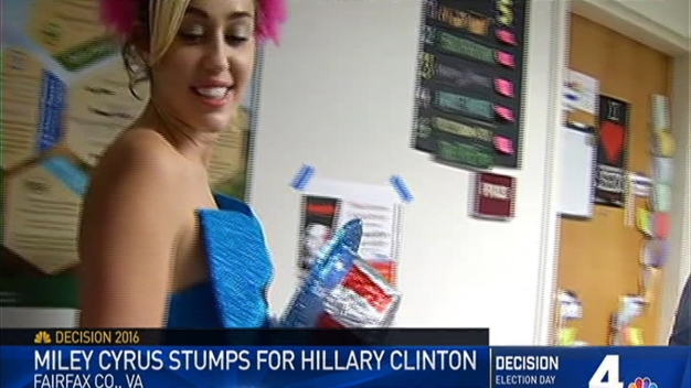 Miley Cyrus Stumps for Hillary Clinton at GMU