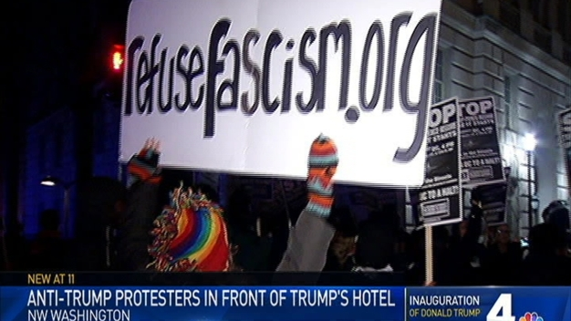 Protesters March in Front of Trump Hotel