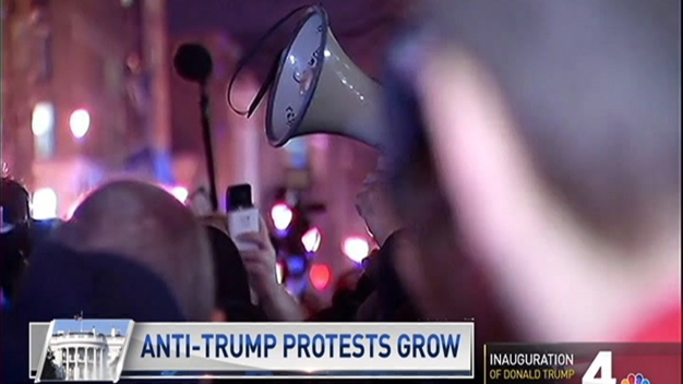 Anti-Trump Protests Erupt in DC Night Before Inauguration