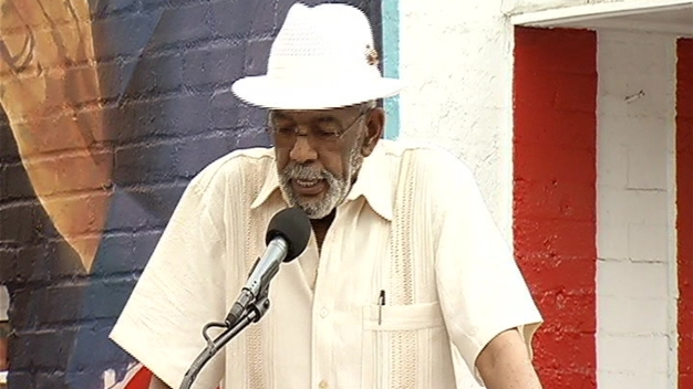 Vance Talks at Ben's Chili Bowl Mural
