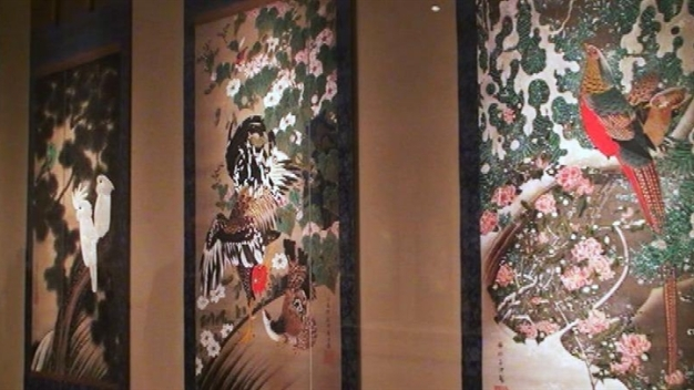 Rare Japanese Silk Scrolls on Display