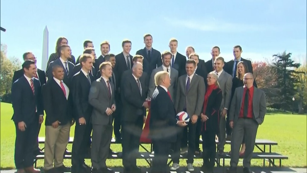 Trump Has a Ball as NCAA Champion Teams Visit
