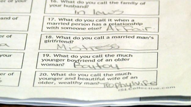 Naughty Quiz Shocks Sixth Graders