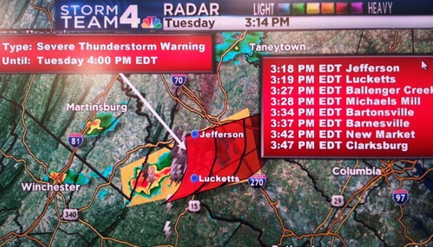 Severe T-Storm Warning for Parts of D.C. Area