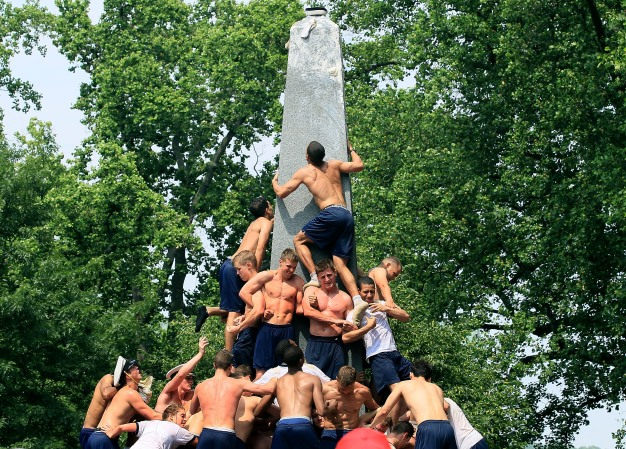 Naval Academy Plebes Take on Herndon Monument