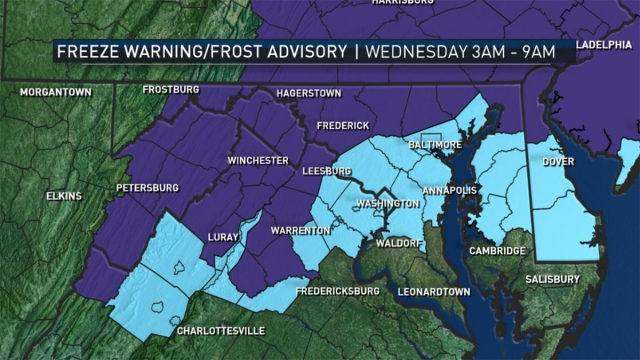 Freeze Warning, Frost Advisory for DC Area Wed. Morning