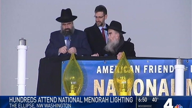 National Menorah - World's Biggest - Lit in D.C.