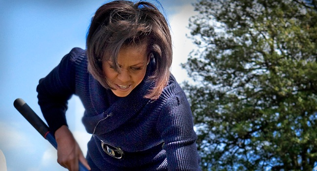 First Lady Rolls Up Sleeves for White House Garden