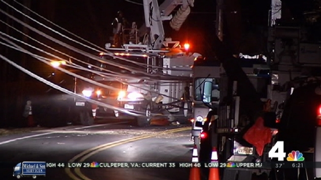 Downed Pole, Wires Block Bradley Boulevard in Potomac