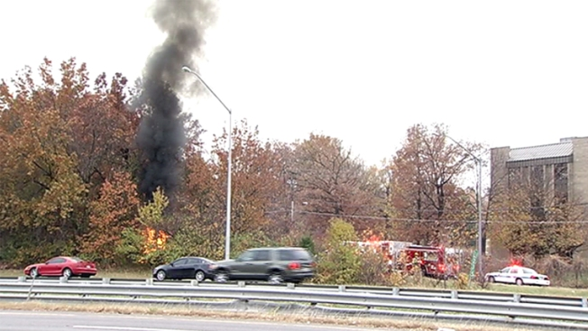 Crashed Car Bursts Into Flames Along Capital Beltway's Inner Loop